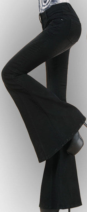 Black Flared Button-Fly Jeans - DESIGNER INSPIRED FASHIONS