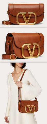 'Supervee' Calfskin Crossbody Bag, Saddle Brown | DESIGNER INSPIRED FASHIONS