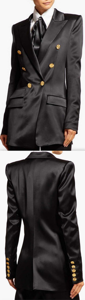 Double-Breasted Satin Blazer | DESIGNER INSPIRED FASHIONS