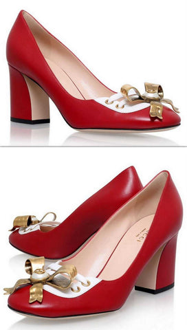 'Finnlay' Blocked Heel Pump-Red - DESIGNER INSPIRED FASHIONS