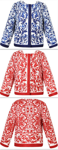 'Majolica' Tile Printed Jacket - Blue or Red - DESIGNER INSPIRED FASHIONS