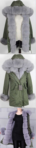 Army Parka Military Parka Coat with Fox Fur-Green/Grey | DESIGNER INSPIRED FASHIONS