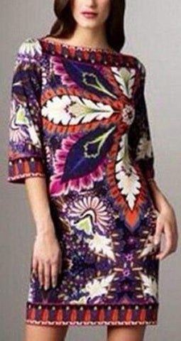 Multicolored 3-D Floral Print Jersey Silk Dress | DESIGNER INSPIRED FASHIONS