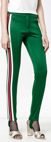 Striped Tech-Jersey Leggings, Green