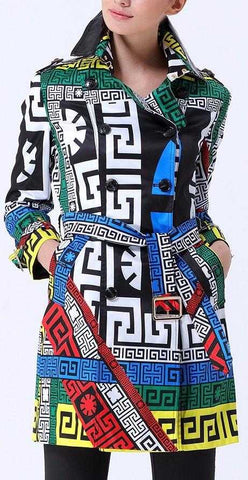 'Greek' Print Trench Coat - DESIGNER INSPIRED FASHIONS