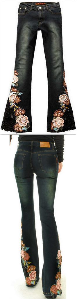 Beaded Floral Embroidered Flared Jeans - DESIGNER INSPIRED FASHIONS
