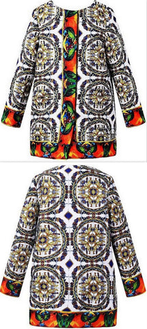 Tile Printed Coat - DESIGNER INSPIRED FASHIONS