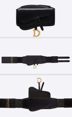 Saddle Belt Bag  in Black Lambskin | DESIGNER INSPIRED FASHIONS