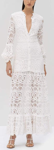 Lace Embroidered Eudora Maxi Dress, White | DESIGNER INSPIRED FASHIONS
