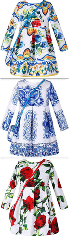 Dress & Handbag Set - ( Multi-Majolica, Blue & White Majolica, Rose Print) | DESIGNER INSPIRED FASHIONS