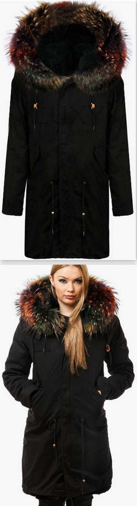 Black Fur Parka Coat-Multi-Colored Fur - DESIGNER INSPIRED FASHIONS