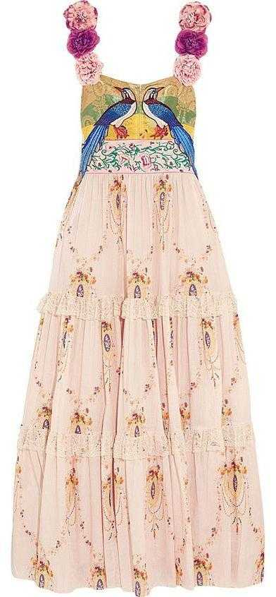 Applique Flower-Strap Embroidered Long Dress - DESIGNER INSPIRED FASHIONS