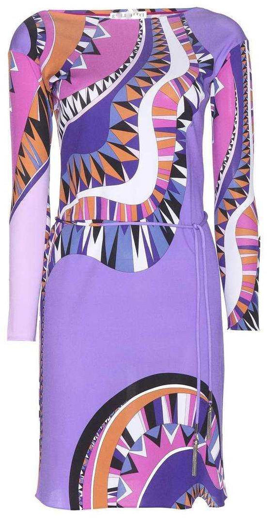 Abstract Psychedelic Print Silk Dress - DESIGNER INSPIRED FASHIONS