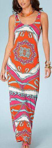 Long Printed Jersey Silk Tank Dress-Multicolor
