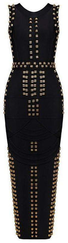 'Bradshaw' Gold Beaded Long Dress - Black - DESIGNER INSPIRED FASHIONS