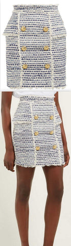 Double-Breasted Logo-Button Tweed Skirt | DESIGNER INSPIRED FASHIONS