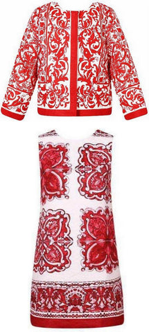 Porcelain Print Jacket & Dress Set, Red - DESIGNER INSPIRED FASHIONS