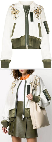 Sequin-Embellished Zipped Jacket, White/Green | DESIGNER INSPIRED FASHIONS