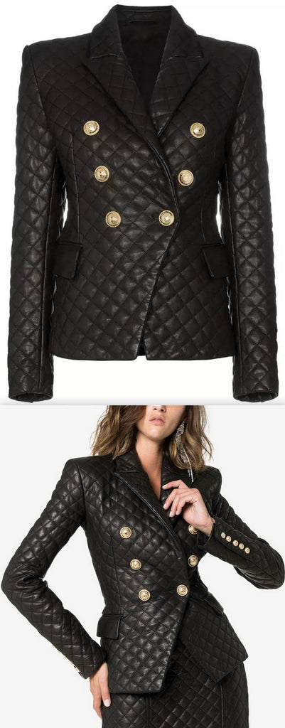 Double-Breasted Quilted Blazer | DESIGNER INSPIRED FASHIONS