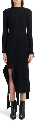 Asymmetric Knit Long-Sleeve Midi Dress | DESIGNER INSPIRED FASHIONS