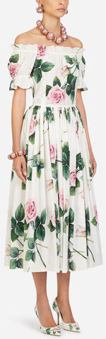 Tropical Rose Print Poplin Longuette Dress | DESIGNER INSPIRED FASHIONS