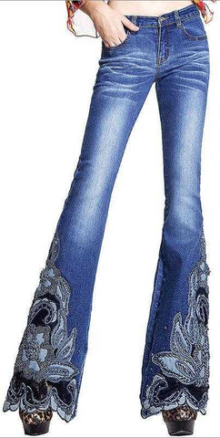 Embellished Floral Faded Jeans | DESIGNER INSPIRED FASHIONS