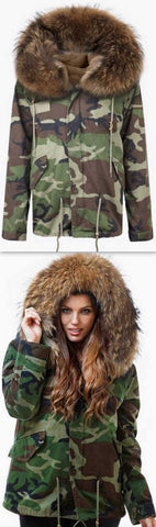 'Camo' Fur Parka Jacket-Natural - DESIGNER INSPIRED FASHIONS