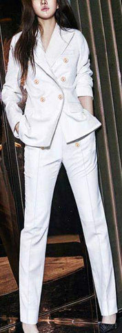 Double Breasted Suit Jacket & Matching Pant Set in White or Black - DESIGNER INSPIRED FASHIONS