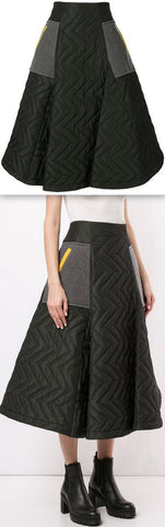 Padded Chevron Midi Skirt | DESIGNER INSPIRED FASHIONS