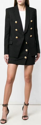 Double-Breasted Blazer and Skirt Set | DESIGNER INSPIRED FASHIONS