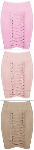 Lace-up Stretch Mini Skirt - Pink, Nude or Khaki - DESIGNER INSPIRED FASHIONS