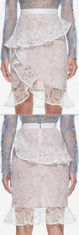 'Ophelia' Frill Lace Skirt - DESIGNER INSPIRED FASHIONS