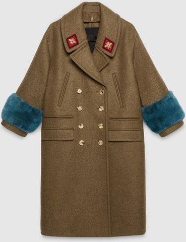e893cac68 ... Wool-Blend Military Style Coat with Faux-Fur Cuffs - DESIGNER INSPIRED  FASHIONS