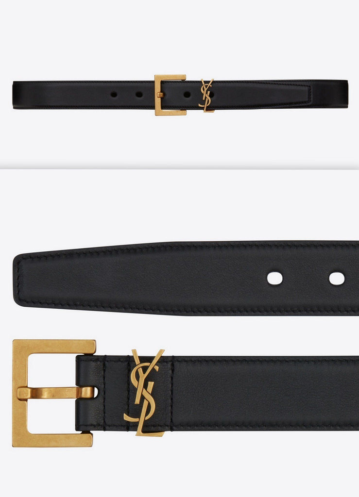 Monogramme Belt with Square Buckle in Smooth Leather | DESIGNER INSPIRED FASHIONS
