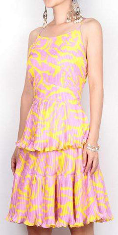 Print Tiered Pleated Dress | DESIGNER INSPIRED FASHIONS