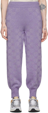 Purple Lurex Interlocking G Lounge Pants