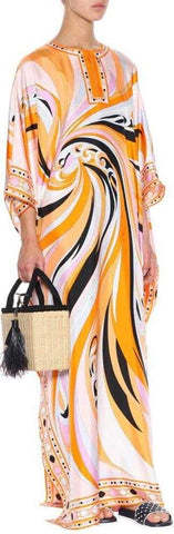Abstract Print Kaftan Dress