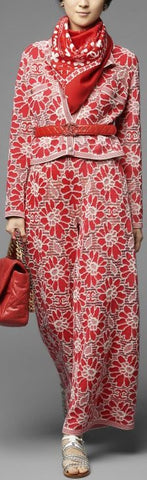 Floral Wool and Cotton Cardigan and Pant Set - Red or Blue
