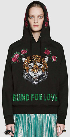 'Blind for Love' Tiger Embellished Hoodie, Black - DESIGNER INSPIRED FASHIONS