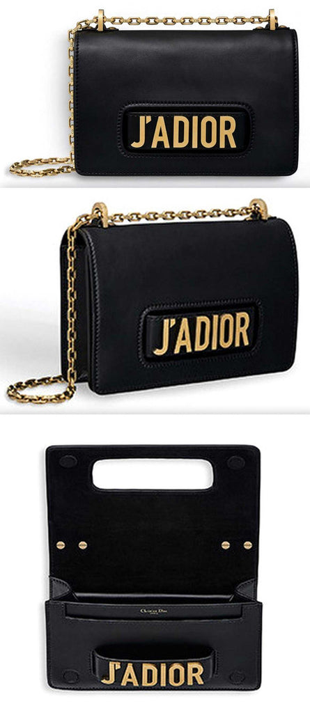 J aDior Flap Bag with Chain in Black Calfskin – DESIGNER INSPIRED FASHIONS 135c406914f08