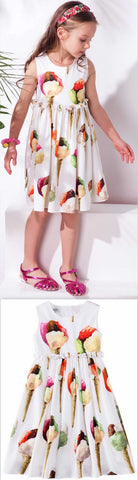Ice Cream Print Dress - DESIGNER INSPIRED FASHIONS