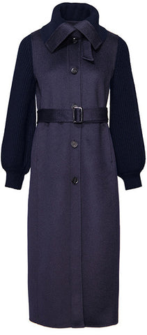 Belted Knit-Paneled Wool Coat, Navy | DESIGNER INSPIRED FASHIONS
