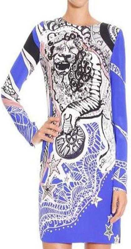 Lion Print Jersey Silk Dress in Blue