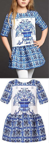 Blue & White Majolica Tile Print Tunic Dress - DESIGNER INSPIRED FASHIONS