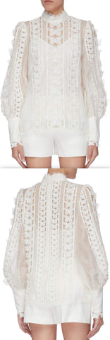 'Super 8' Lace Flutter Blouse, White | DESIGNER INSPIRED FASHIONS