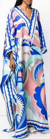 'Acapulco' Print Long Kaftan Dress