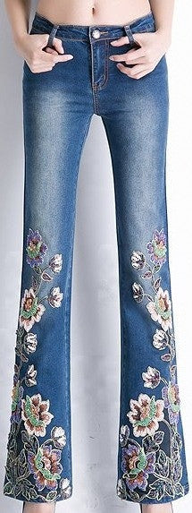 Bead-Embellished Floral-Embroidered Bootcut Jeans - DESIGNER INSPIRED FASHIONS