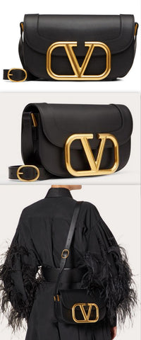 'Supervee' Calfskin Crossbody Bag, Black | DESIGNER INSPIRED FASHIONS