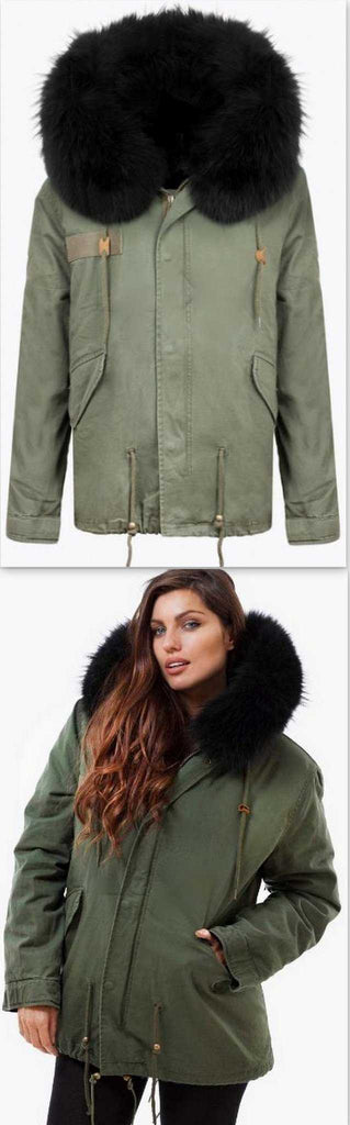 Army-Green Fur Parka Jacket-Black Fur - DESIGNER INSPIRED FASHIONS