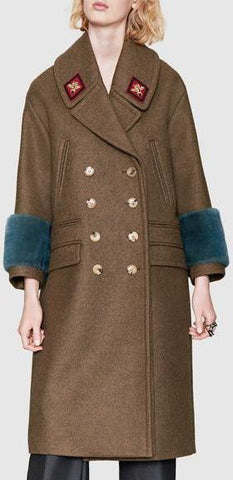 Wool-Blend Military Style Coat with Faux-Fur Cuffs - DESIGNER INSPIRED FASHIONS